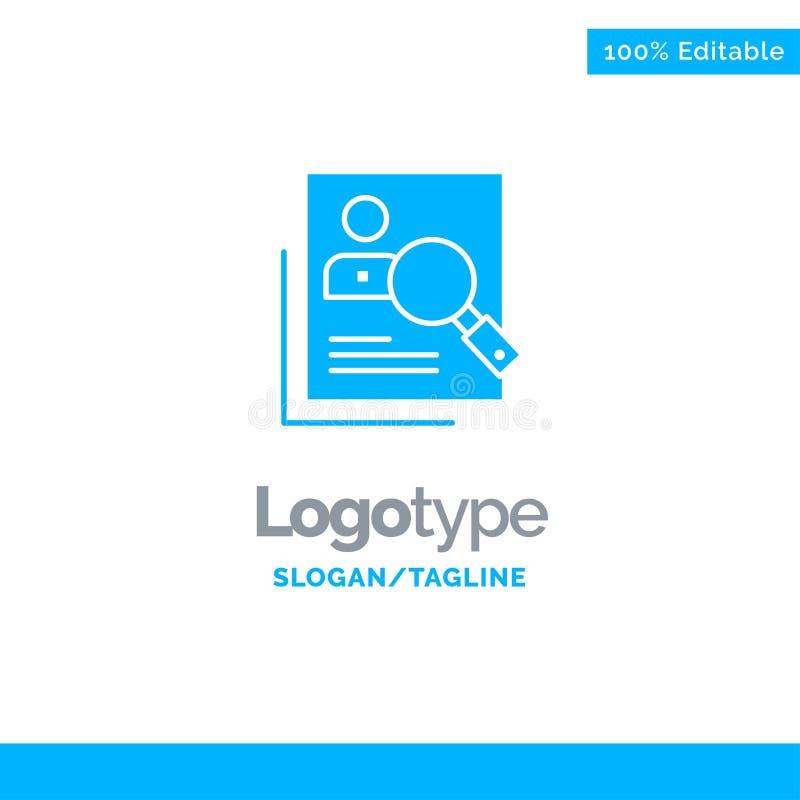 Empleado, hora, humana, caza, personal, recursos, curriculum vitae, búsqueda Logo Template sólido azul Lugar para el Tagline libre illustration