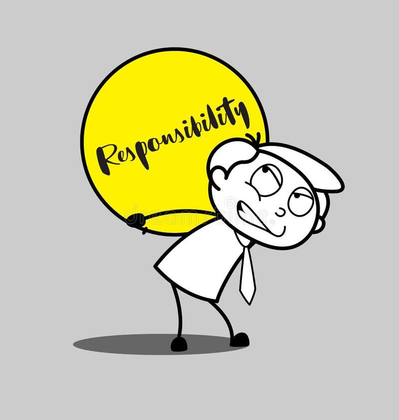 Empleado irritado historieta que lleva una carga de la responsabilidad libre illustration