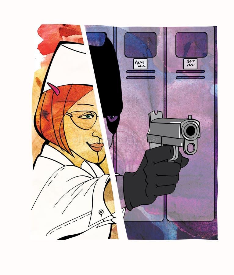 Empleado-ladr?n Hurto en el lugar de trabajo disfraz Mitad de Dombai de la muchacha y de una muchacha so pretexto de un bandido c stock de ilustración