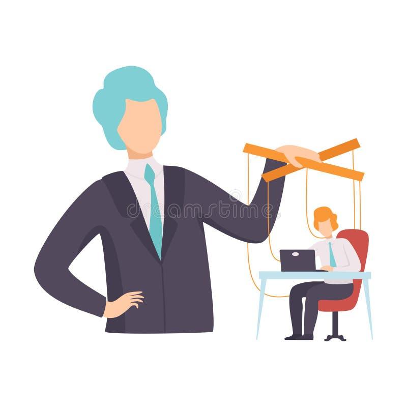 Empleado, marioneta del oficinista en las cuerdas controladas por Boss, manipulación del ejemplo del vector del concepto de la ge libre illustration