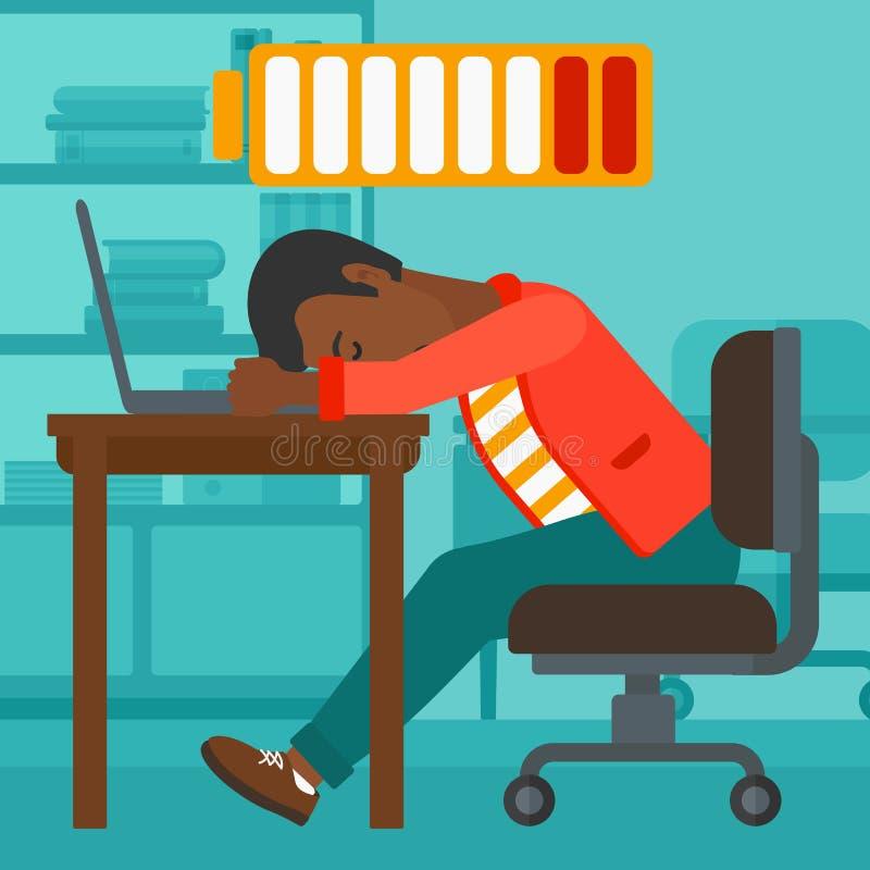 Empleado que duerme en el lugar de trabajo ilustración del vector