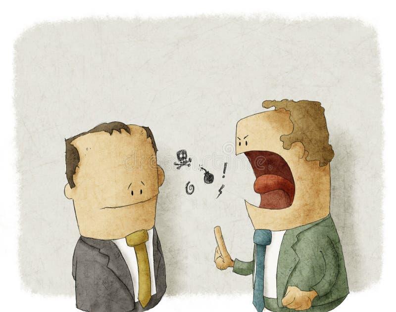 Empleado southing del jefe enojado ilustración del vector