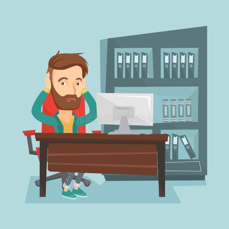 Empleado subrayado que trabaja en oficina libre illustration