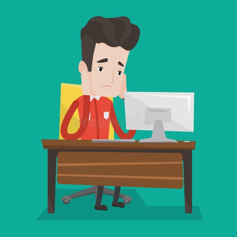 Empleado triste agotado que trabaja en oficina stock de ilustración