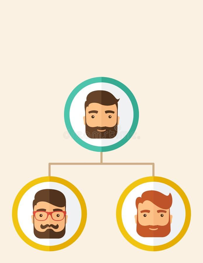 Empleados de la compañía que alinean la posición ilustración del vector