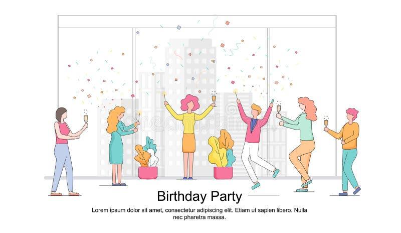 Empleados de oficina que felicitan a la mujer del colega ilustración del vector