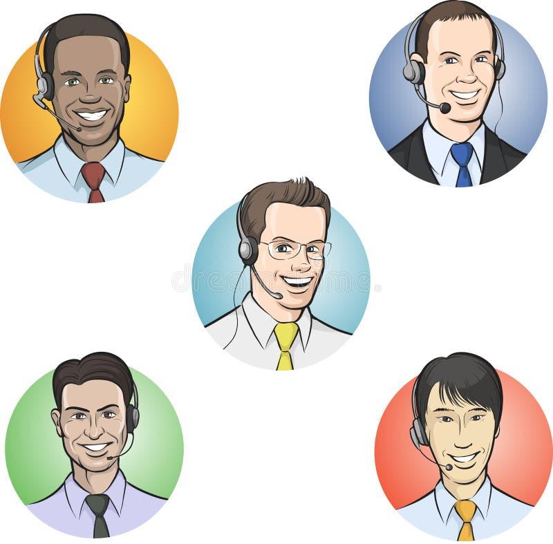 Empleados del centro de atención telefónica con los receptores de cabeza stock de ilustración