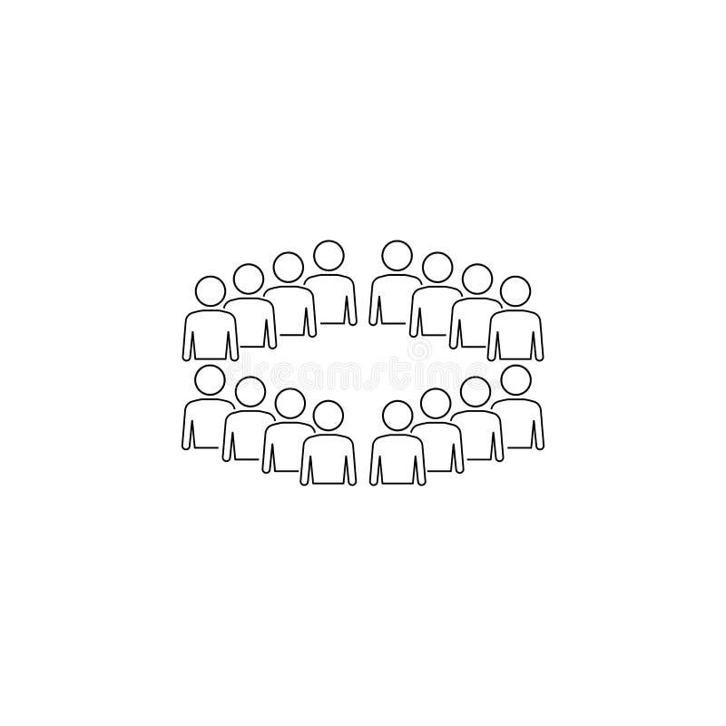 empleados del icono de la organización Elemento del icono del negocio para los apps móviles del concepto y del web Línea fina emp ilustración del vector