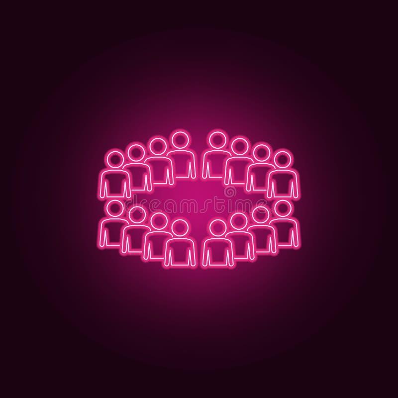 empleados del icono de neón de la organización Elementos del sistema de la gente Icono simple para las p?ginas web, dise?o web, a stock de ilustración