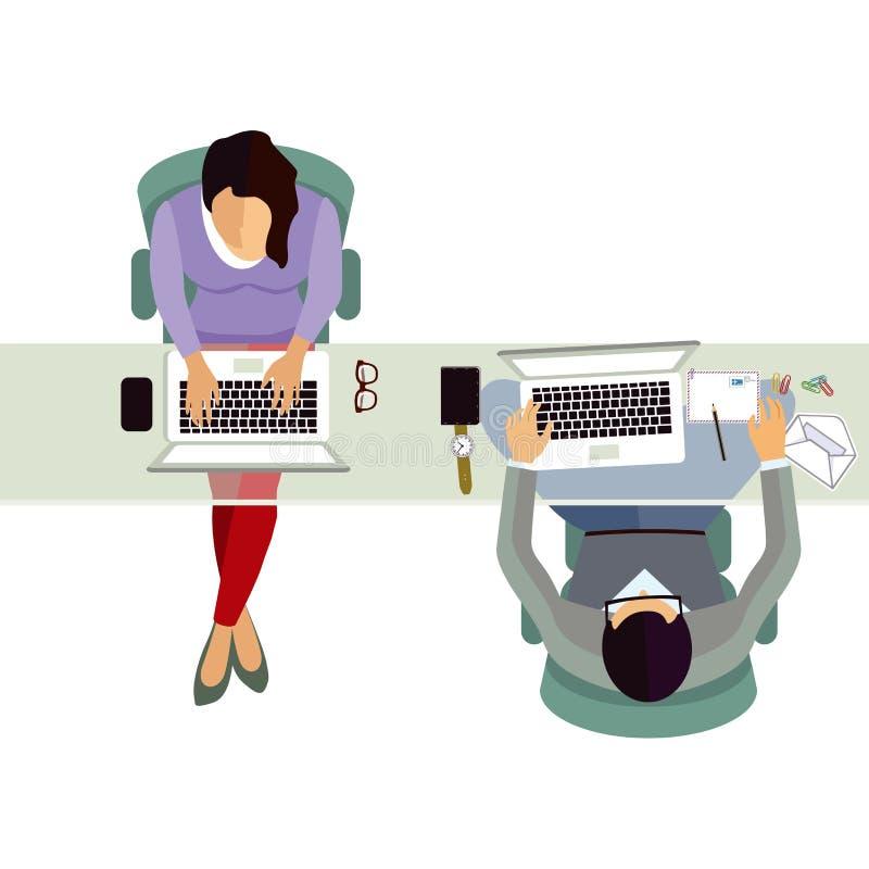 Empleados que trabajan en oficina ilustración del vector