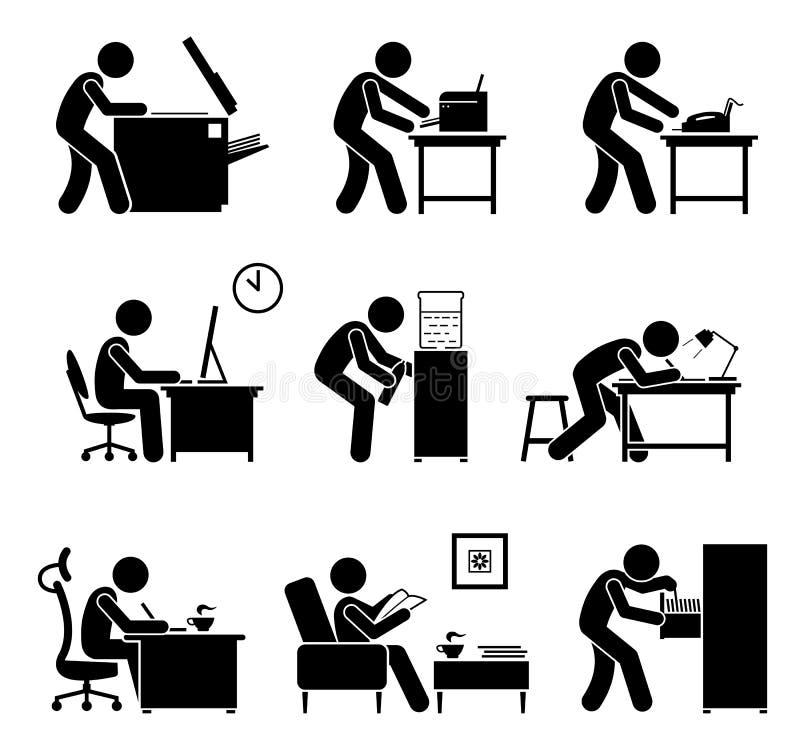 Empleados que usan los mobiliarios de oficinas en lugar de trabajo stock de ilustración