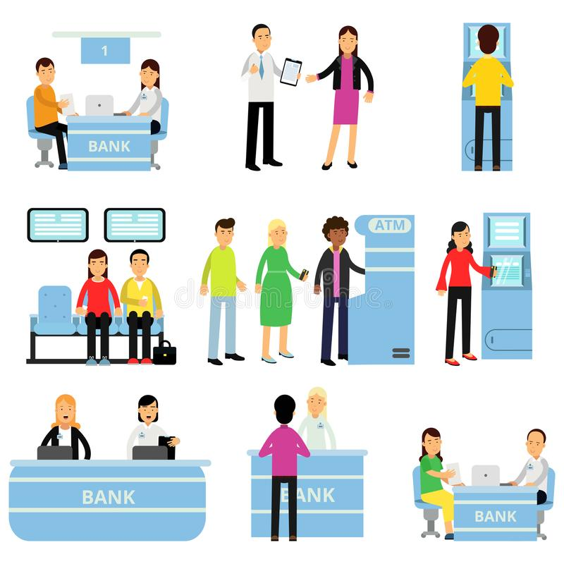 Empleados y clientes del banco en diversas situaciones El consultor aconseja al cliente, gente que se sienta en la cola, el conse libre illustration