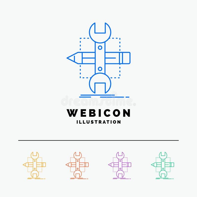 Emplee, diseñe, conviértase, bosqueje, línea de color de las herramientas 5 plantilla del icono de la web aislada blanco Ilustrac libre illustration
