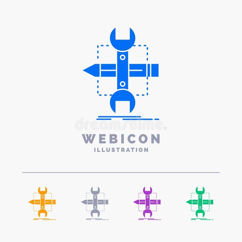Emplee, diseñe, conviértase, bosqueje, plantilla del icono de la web del Glyph del color de las herramientas 5 aislada blanco Ilu ilustración del vector