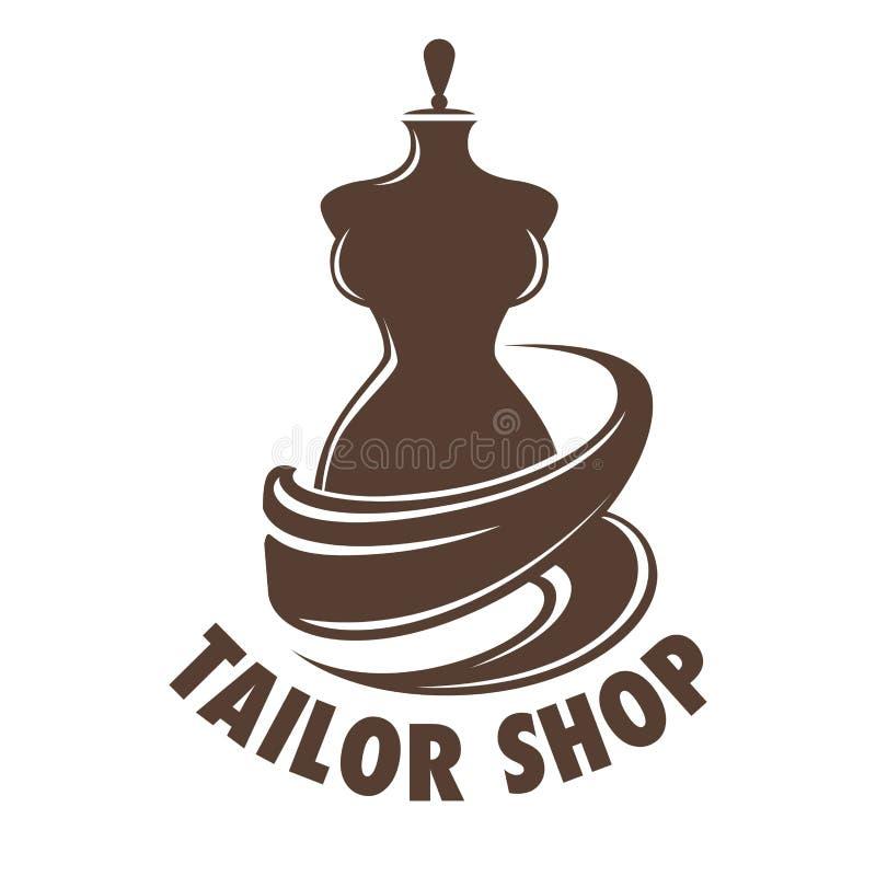 Empleo de la adaptación de la tienda del sastre en logotipo del maniquí del taller stock de ilustración