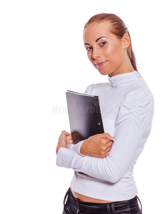 Emploee que guarda o contrato fotografia de stock
