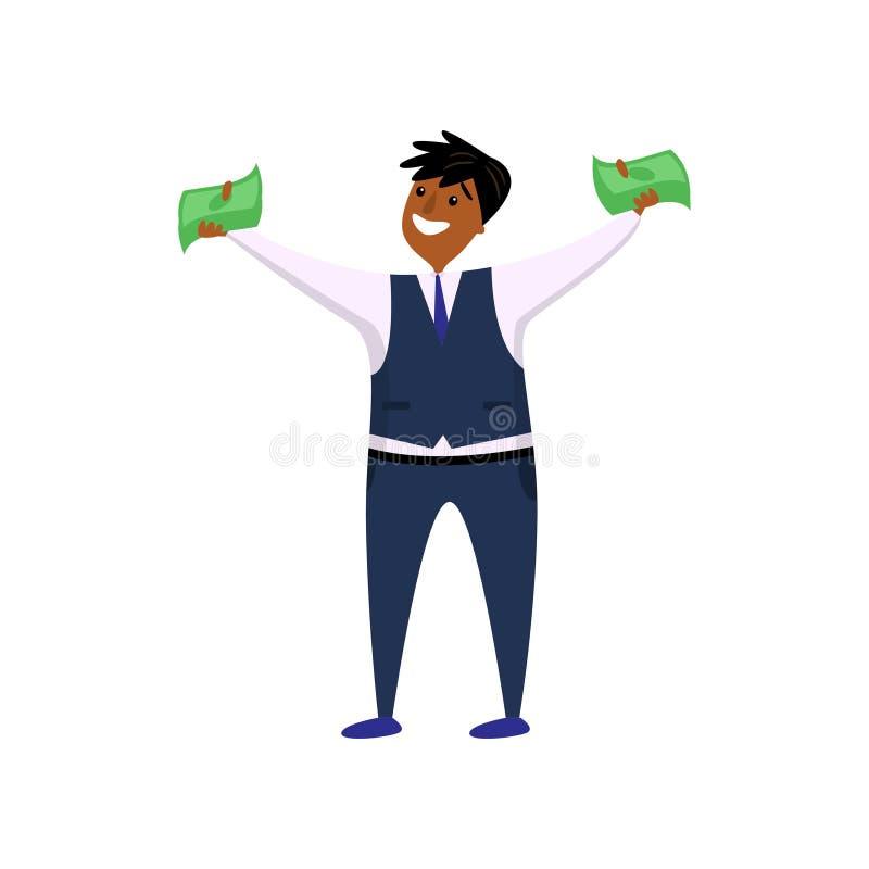Employé afro-américain de sourire heureux tenant l'argent liquide dans des deux mains tournées à la visionneuse illustration de vecteur