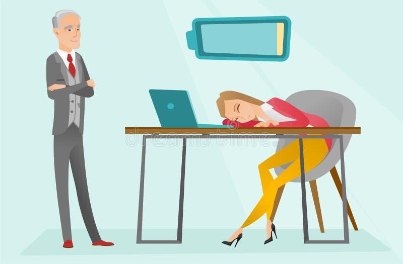 Employé caucasien fatigué dormant sur le lieu de travail illustration libre de droits