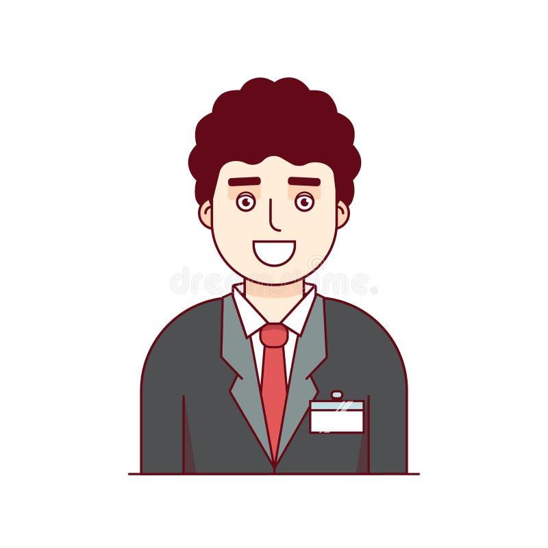 Employé d'affaires portant le costume formel avec l'insigne illustration stock