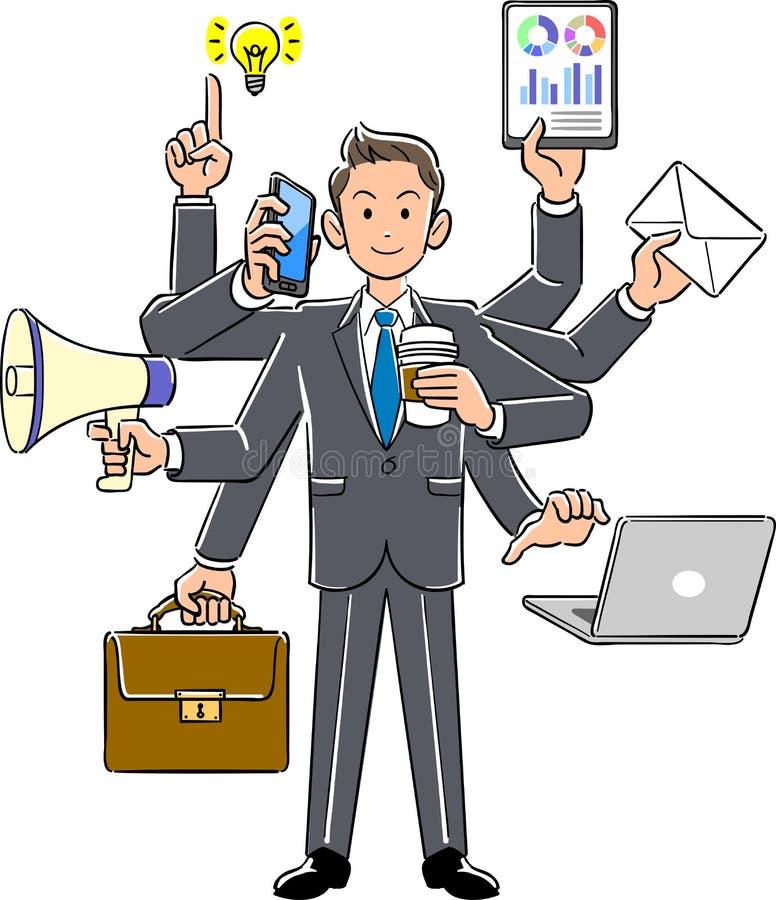 Employé d'homme d'affaires qui exécute l'employé multitâche et nouvel illustration de vecteur