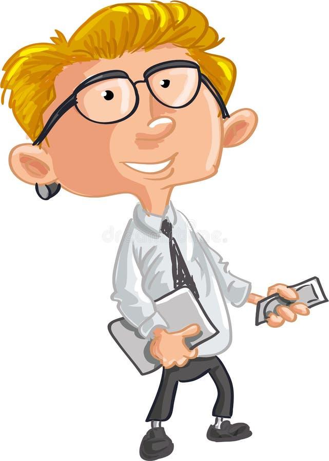 Employé de bureau avec le téléphone portable et l ordinateur portable
