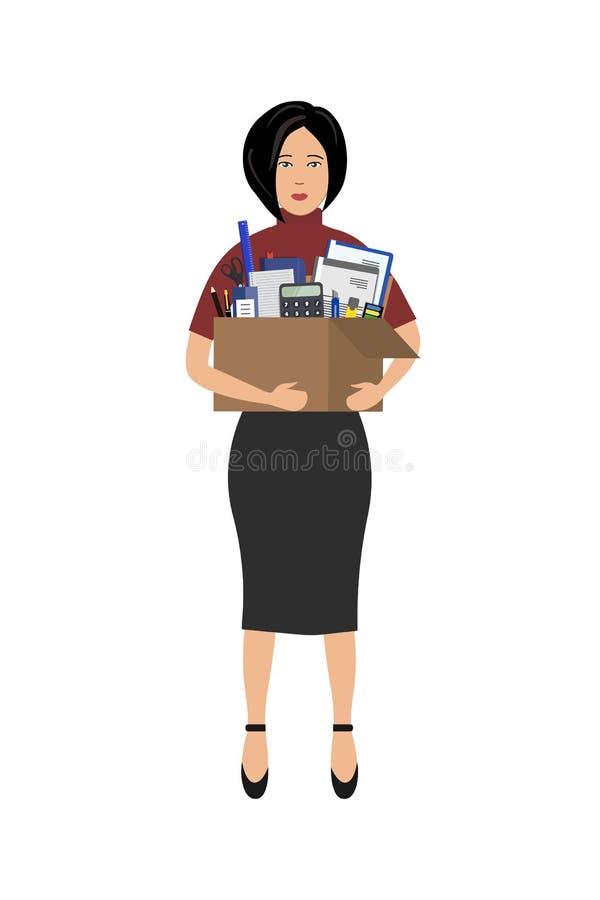 Employé de bureau avec une boîte de papeterie dans les mains Concept : l'employé a été mis le feu, perdu salut illustration stock