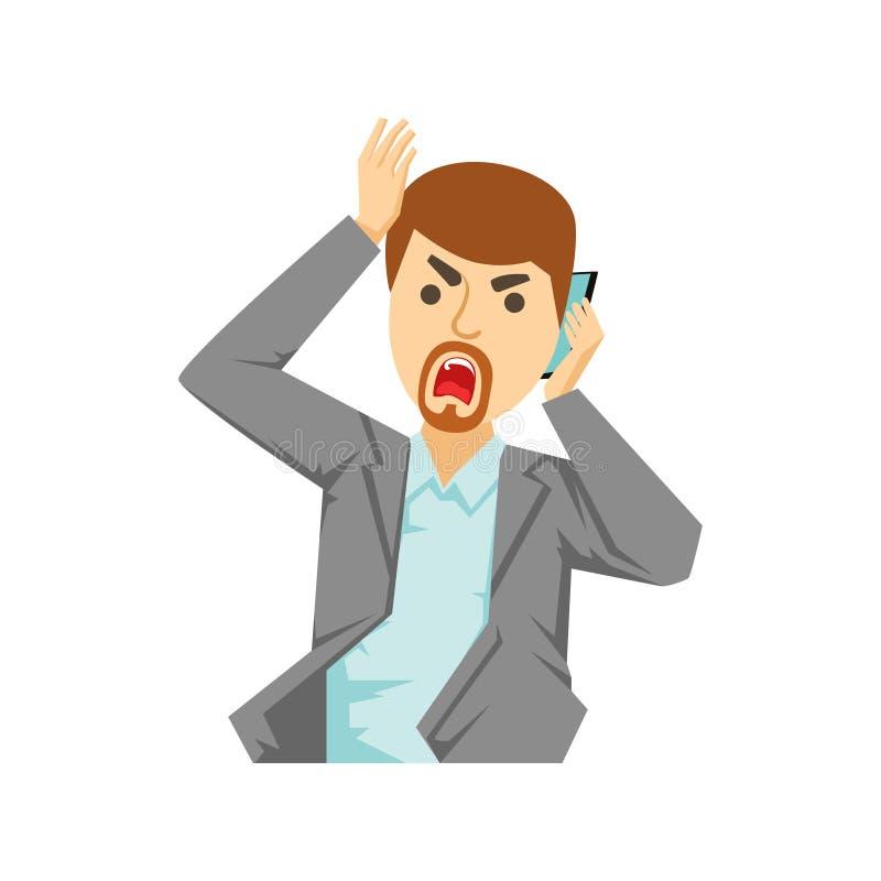 Employé de bureau fâché criant chez Smartphone, une partie de personnes parlant de la série de téléphone portable illustration libre de droits