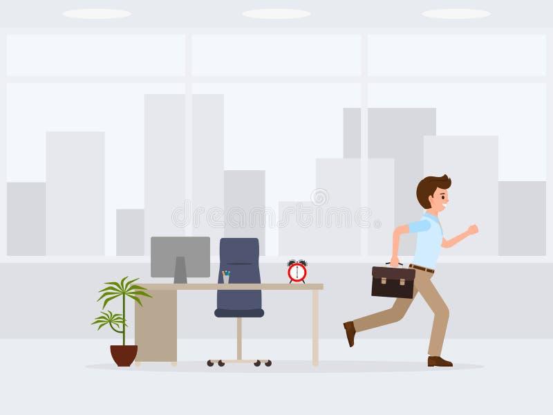 Employé de bureau heureux courant à partir du personnage de dessin animé du travail Illustration de vecteur de fin de jour ouvrab illustration libre de droits