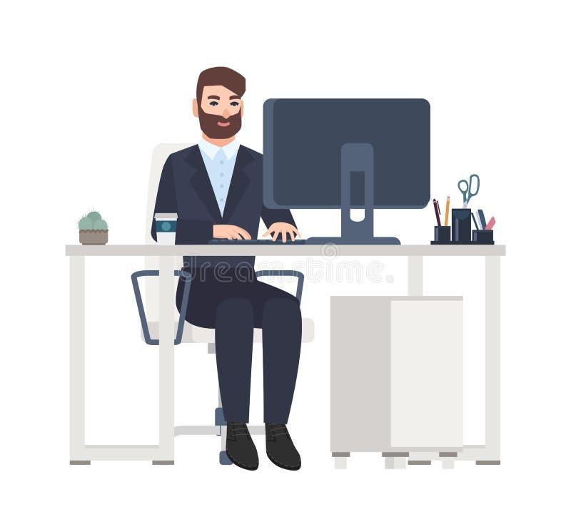 Employé de bureau ou commis masculin gai s'asseyant au bureau et travaillant sur l'ordinateur Directeur de sourire sur son lieu d illustration stock