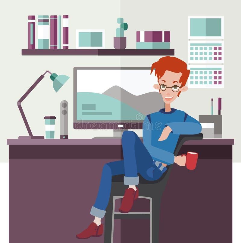 Employé de bureau ou indépendant au bureau Homme roux s'asseyant par la table et tenant une tasse rouge Vecteur plat coloré illustration libre de droits