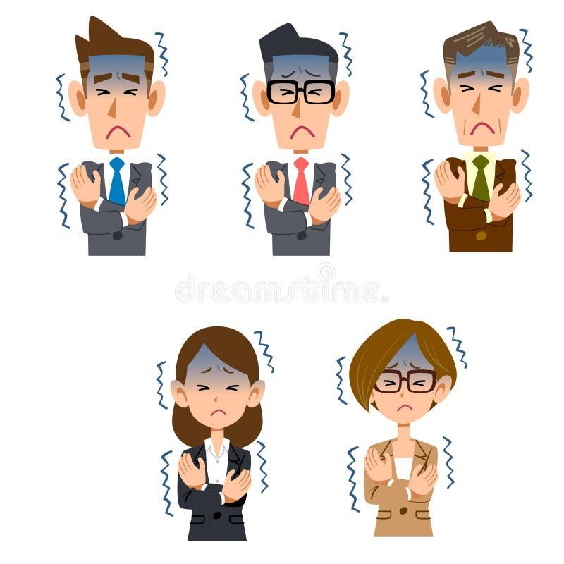 Employé de bureau de sexe masculin et féminin qui sent le froid illustration libre de droits