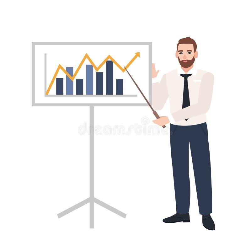 Employé de bureau de sexe masculin faisant la présentation et démontrant le diagramme à bord Haut-parleur d'affaires donnant la c illustration de vecteur
