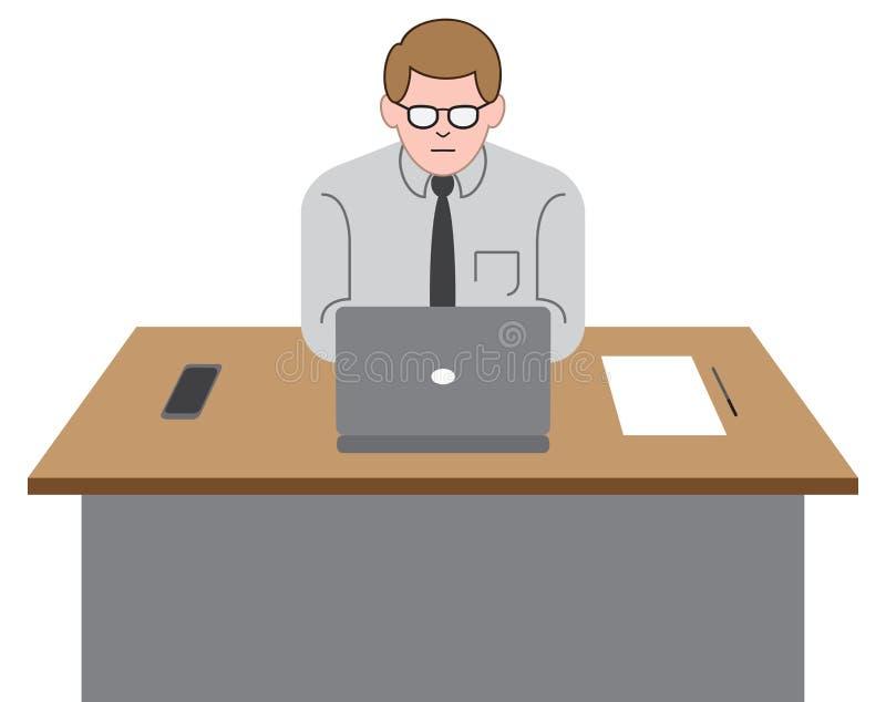 Employé de bureau sur l'ordinateur portable illustration libre de droits