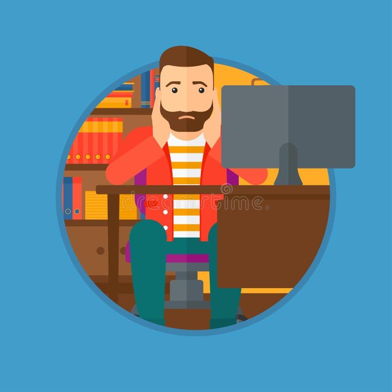 Employé fatigué s'asseyant dans le bureau illustration stock