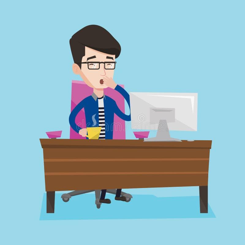 Employé fatigué travaillant dans le bureau illustration stock