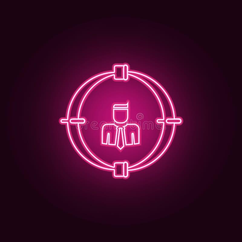employé sur l'icône de vue Éléments d'heure et de chasse de la chaleur dans les icônes au néon de style E illustration libre de droits