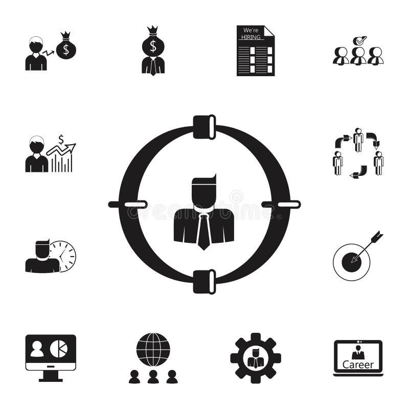 employé sur l'icône de vue Ensemble détaillé d'icônes de chasse d'heure et de chaleur Signe de la meilleure qualité de conception illustration stock