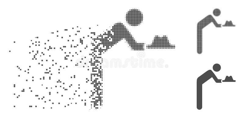 Employé tramé décomposé With Hat Icon de pixel illustration stock