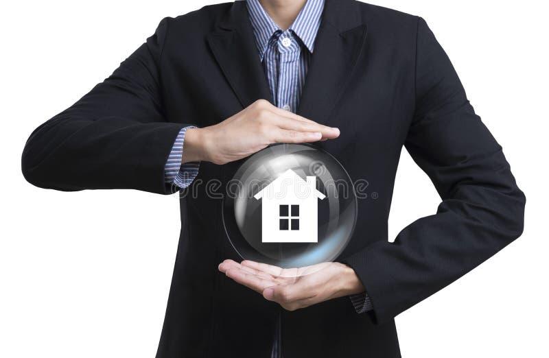 Employés d'affaires protégeant la famille de concept de soin de client images stock