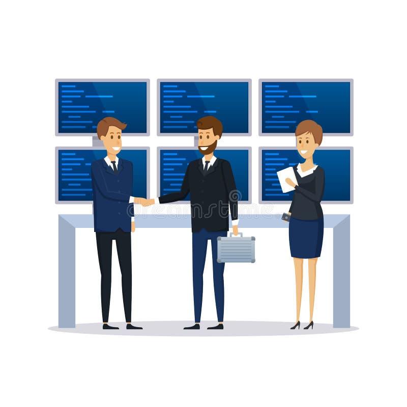 Employés d'organisation financière, collègues, discussion de conduite de conversation illustration libre de droits