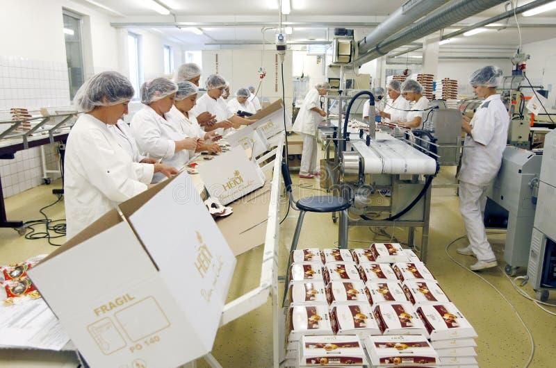 Employés d'usine de chocolat photographie stock