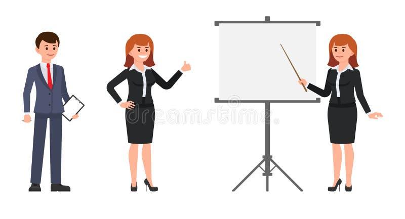 Employés de bureau d'homme et de femme rédigeant le rapport sur le tableau de conférence Illustration de vecteur des collègues de illustration libre de droits