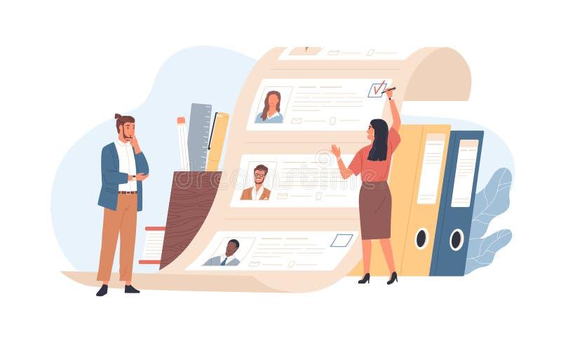 Employés de bureau d'homme et de femme se tenant devant la liste de demandeurs de travail Concept de choix de travailleur ou de p illustration stock