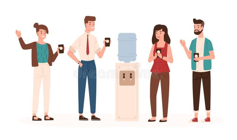 Employés de bureau ou collègues tenant le refroidisseur ou le distributeur d'eau proche, boire et causerie Mâle et femelle de sou illustration de vecteur