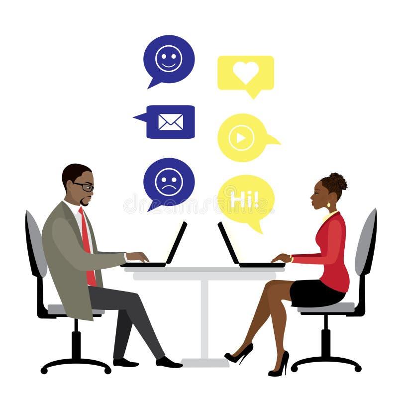 Employés de bureau ou gens d'affaires d'afro-américain s'asseyant au Th illustration libre de droits