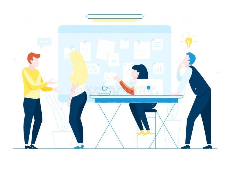 Employés de bureau sur le fond blanc Travailleurs de Co discutant des idées Dirigez l'illustration de la réunion d'affaires, trav illustration stock