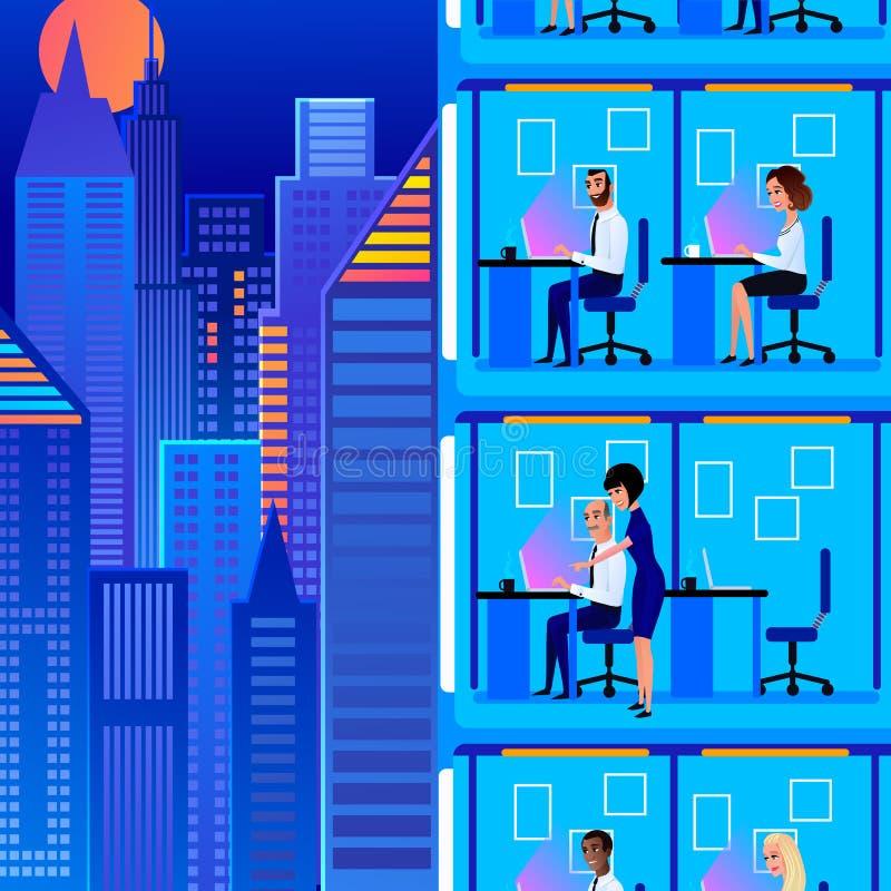 Employés de bureau travaillant au défunt vecteur de bande dessinée illustration stock