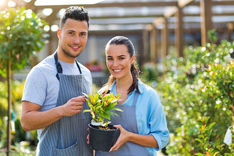 Employés de jardinerie image libre de droits