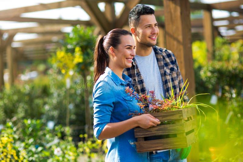 Employés de jardinerie photos stock