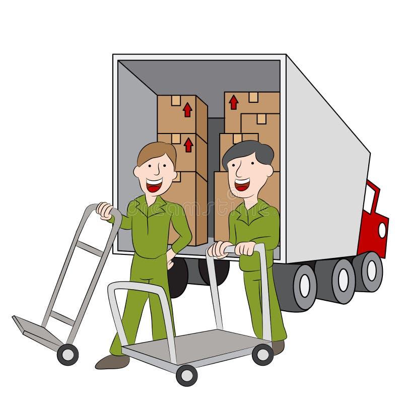 Employés et camion d'entreprise de déménagement illustration de vecteur